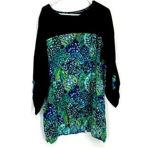 Westbound Woman Roll Cuff Sleeve Printed Blouse 3X